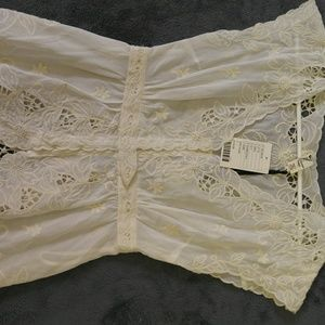 Anthropology ivory lace top